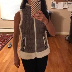 Calvin Klein taupe vest with white shearling trim